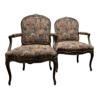 1990s Restyled Vintage Bergere Chairs- a Pair For Sale