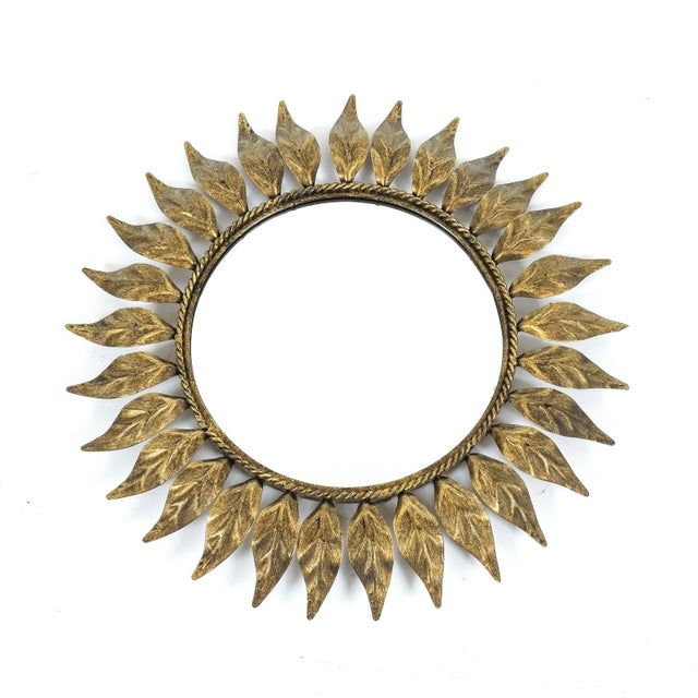 Mid-Century Modern Petit Sunburst Mirror Made From Patinized Brass For Sale - Image 3 of 4