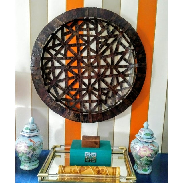 1970s Brutalist Palecek Vintage Gigantic Welded Strips of Metal Wall Decor Platter For Sale - Image 5 of 6