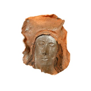 Vintage Mid-Century Handmade Clay Face Wall Hanging For Sale