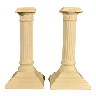 English Plain Creamware Pottery Square-Base Candlesticks - a Pair For Sale