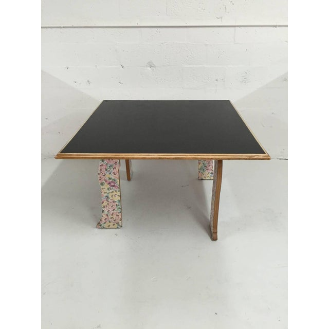 """Cabriole leg dining or center table in """"Grandmother's Tablecloth"""" printed laminate with black laminate top by Robert..."""