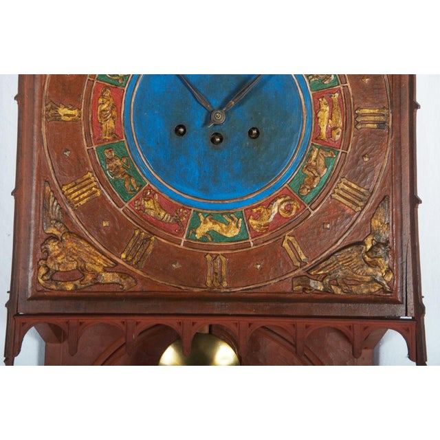 19th Century Danish Wooden Zodiac Clock in Gothic Style For Sale - Image 11 of 13