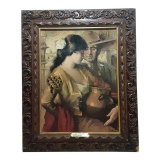 Vintage Framed Spanish Impressionist Print 'La Coqueta' by Jose Puyet For Sale