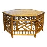 Image of Vintage Mid-Century Boho Chic Rattan Coffee Table For Sale