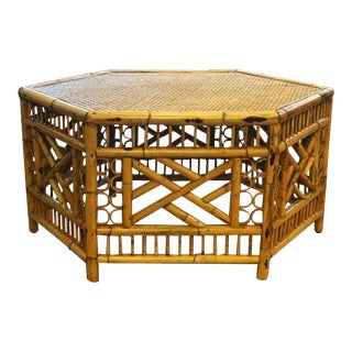 Vintage Mid-Century Boho Chic Rattan Coffee Table For Sale