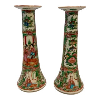 Chinese Export Rose Canton Candlesticks C. 1885-1900 - a Pair For Sale
