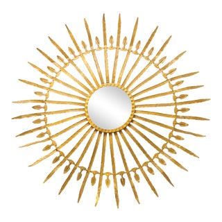 20th Century Gilded Sunburst Tole Mirror For Sale