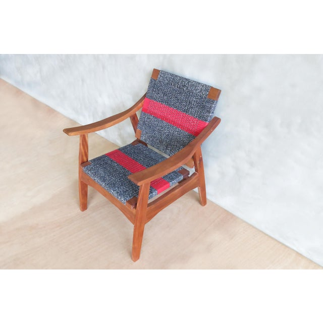 Handwoven Granito & Red Stripe Chair - Image 6 of 6