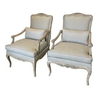 Louis XV Bergere Style Chairs - a Pair For Sale
