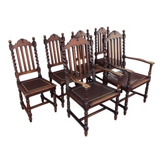 1960s Gothic Revival Walnut Dining Chairs - Set of 6 For Sale