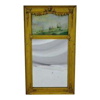 Vintage Gilt Gesso Framed Split Column Mirror With Nautical Print For Sale