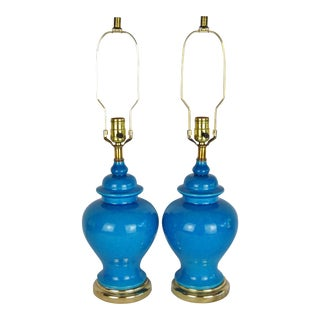 Turquoise Ginger Jar Lamps, Pair For Sale