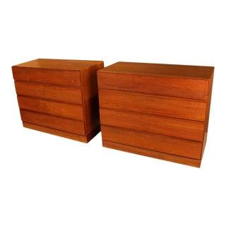 Pair of Arne Wahl Iversen Teak Danish Modern Low Dressers For Sale