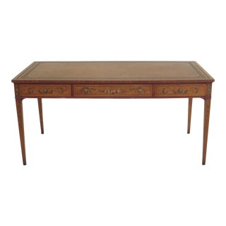 English Made Adam Style Leather Top Paint Decorated Desk For Sale