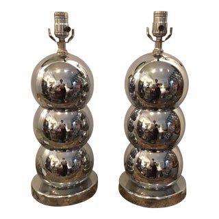 Mid Century Vintage George Kovacs Style Chrome Ball Table Lamps- A Pair For Sale