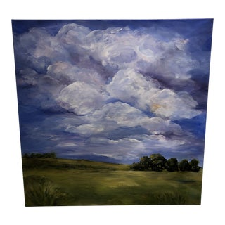 Contemporary Bold Blue Landscape Painting For Sale