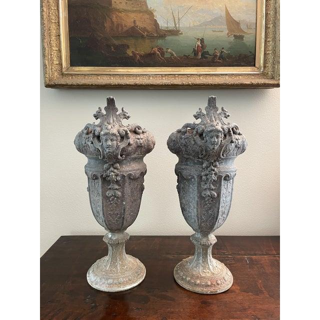 French 19th Century Zinc Renaissance Revival Rococo Garden Vase Planters - A Pair For Sale - Image 13 of 13