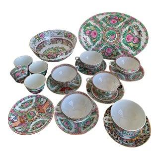 Vintage Large Famille Rose Medallion Set Bowl, Oval Platter, Tea Cups & Saucers, Mini Bowls Set - 19 Pieces For Sale