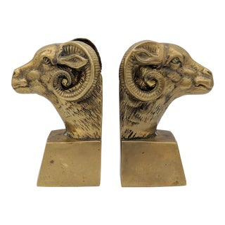 20th Century Figurative Brass Ram Bookends - a Pair For Sale