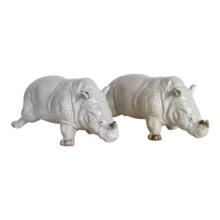 French Glazed Earthenware Rhinoceros Figurines - a Pair For Sale
