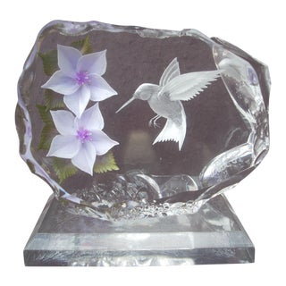 Hummingbird & Blossom Lucite Sculpture For Sale