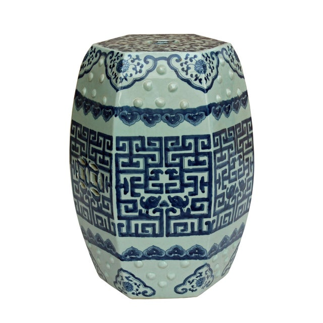 Ceramic Chinese Blue & White Porcelain Scenery Hexagon Pattern Stool Table For Sale - Image 7 of 7