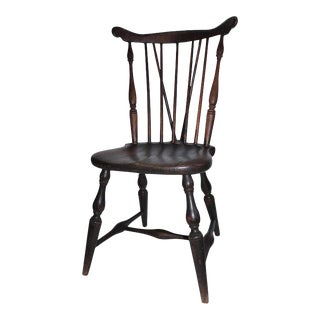 19th Century Brace Back Windsor Chair with Saddle Seat For Sale