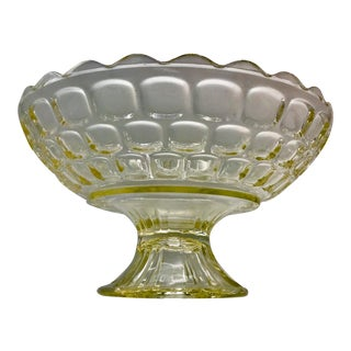 1940s Federal Glass Topaz Honeycomb Pedestal Centerpiece Bowl
