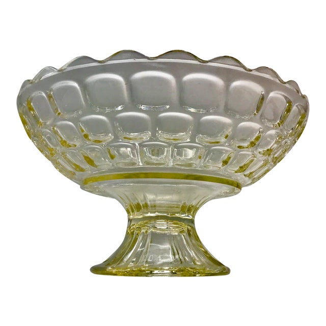 1940s Federal Glass Topaz Honeycomb Pedestal Centerpiece Bowl For Sale