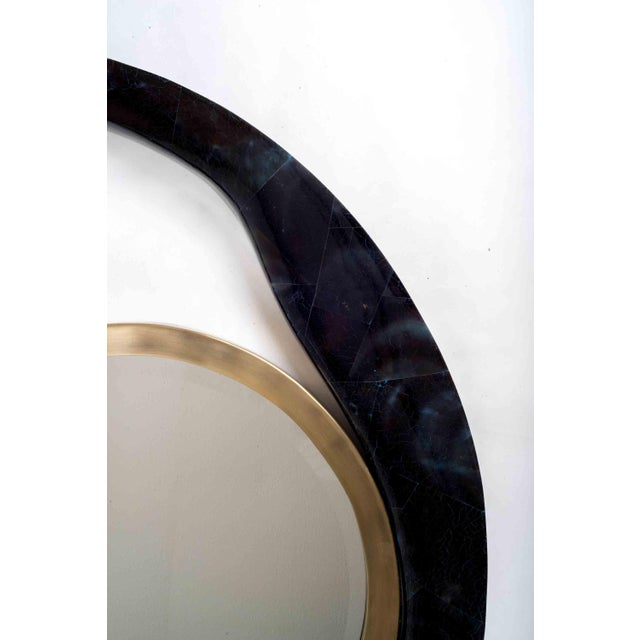 R & Y Augousti Lily Mirror Medium in Cream Shagreen and Bronze-Patina Brass by R&y Augousti For Sale - Image 4 of 7