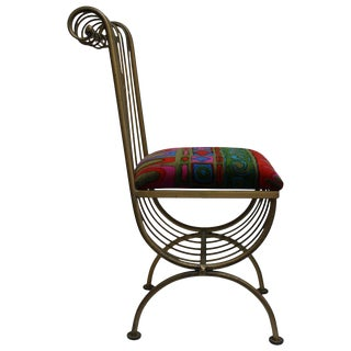 Metal Chair With Jack Lenor Larsen Fabric For Sale