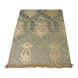Antique Italian Green and Gold Silk Brocade Textile For Sale