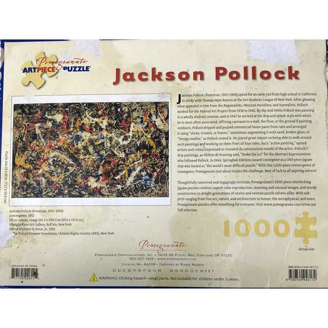 Metal Vintage Jackson Pollock Puzzle in Glass & Brass Shadow Box For Sale - Image 7 of 8