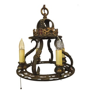 Early 20th Century Wrought Iron Gothic Light Chandelier For Sale