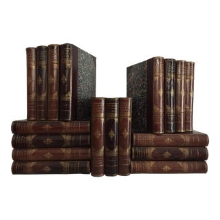 Late-19th Century Decorative Leather Volume Set, Lord Lytton's Novels - 18 Books For Sale