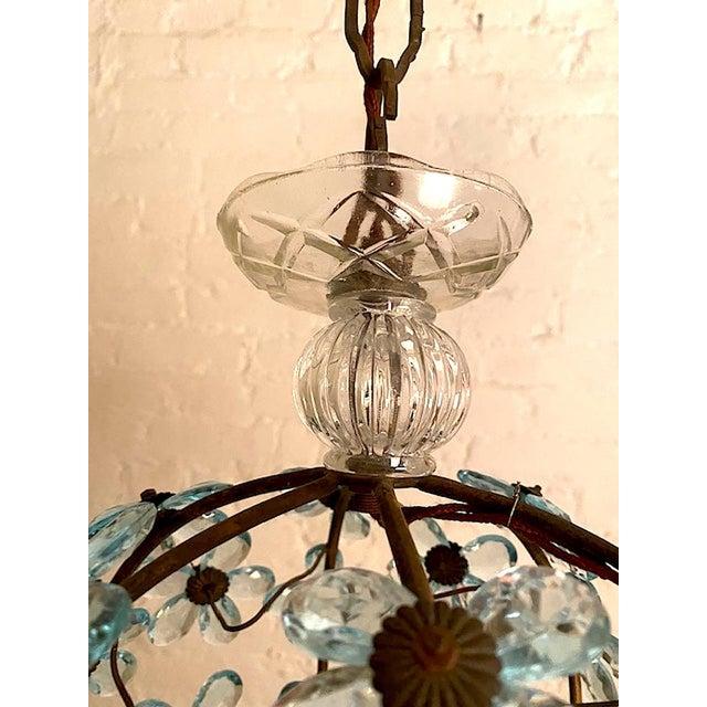 Sky Blue Italian Crystal Flower Pendant Light For Sale - Image 8 of 12