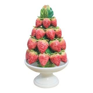 Vintage Petite Italian Capodimonte Porcelain Strawberry Topiary For Sale