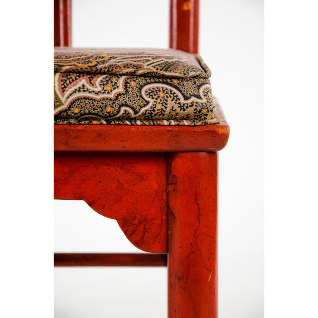 Early 20th Century Vintage Thomasville Chinese Style Red Lacquer and Upholstered Dining Chairs - Set of 6 For Sale - Image 11 of 13