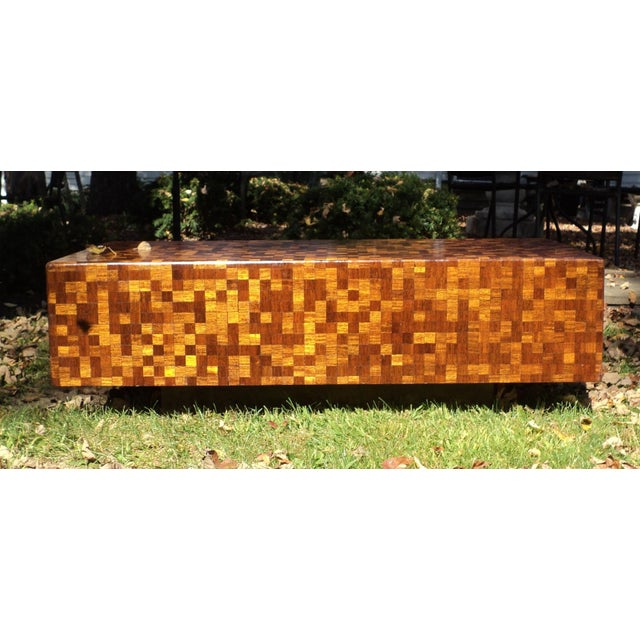 Mid-Century Modern Patchwork Wood Coffee Table - Image 3 of 11