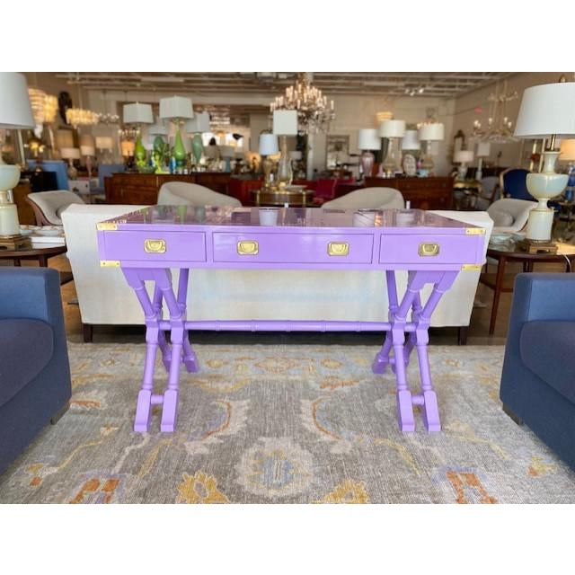 Vintage Campaign Purple Lacquer Writing Desk For Sale - Image 9 of 9