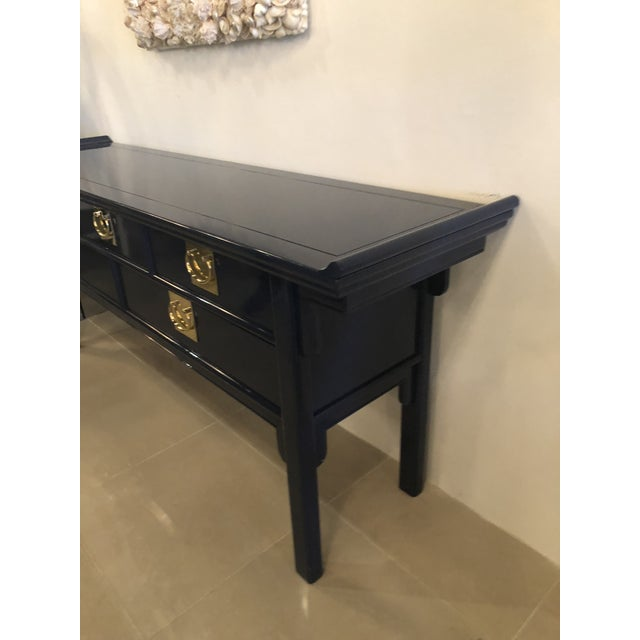 Blue Vintage Century Furntiure Pagoda Navy Blue Lacquered Brass Hardware Console Table For Sale - Image 8 of 11
