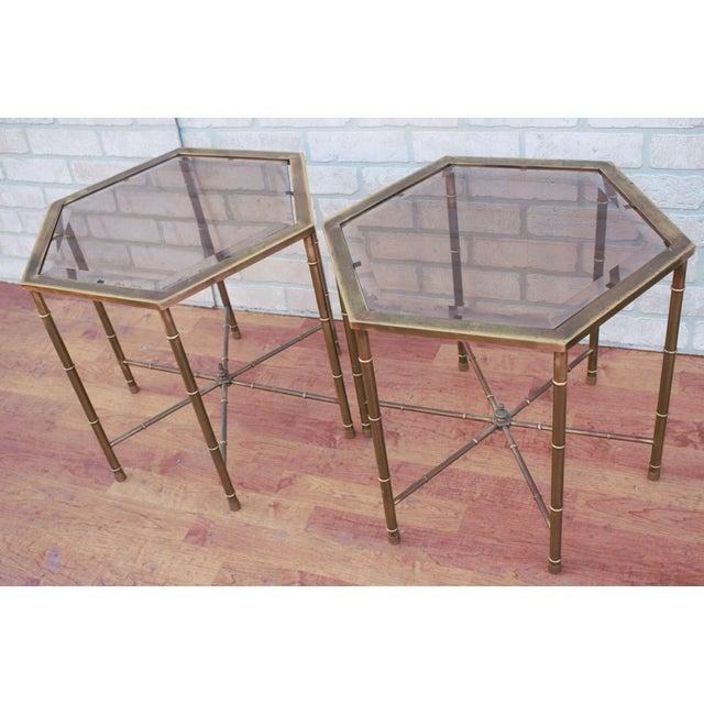 Mid Century Modern Mastercraft Brass Faux Bamboo Side Tables - Pair Very versatile pair of brass faux bamboo hexagonal...