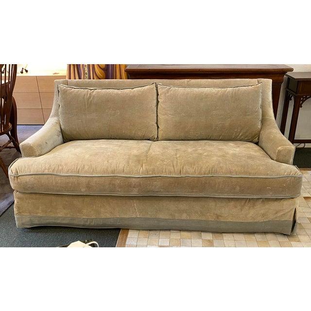 Baker Furniture Custom Velvet + Linen Trimmed Loveseat For Sale - Image 12 of 12