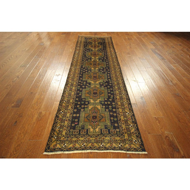 "Navy & Tan Balouch Runner Rug - 2'11"" x 9'9"" - Image 3 of 10"