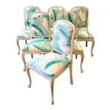 Image of Regency Italian Faux Bois Leaves Dining Chairs - Set of 6 For Sale