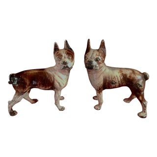 1930s Hubley Boston Terrier Dog Iron Doorstops - a Pair For Sale
