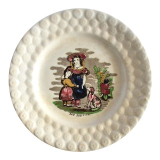 Early 19th Century Antique Victorian Pearlware Plate With Two Girls and a Dog For Sale