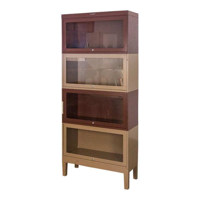 Two-Tone Tall Metal Barrister Bookcases - 2 pieces For Sale