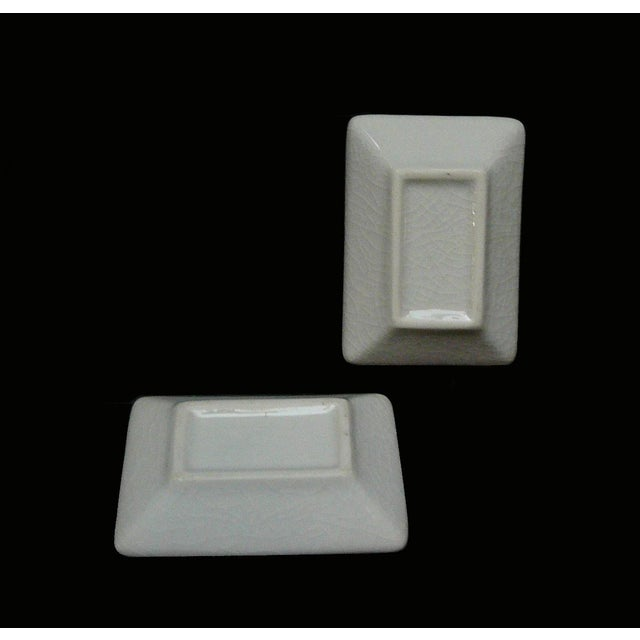 Asian Quality Asian Artist Hand Painted Porcelain Rectangular Display Dishes - a Pair For Sale - Image 3 of 5